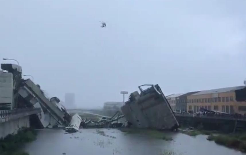Число жертв в Генуе в результате падения моста возросло. Фото видео twitter.com/TgrLiguria
