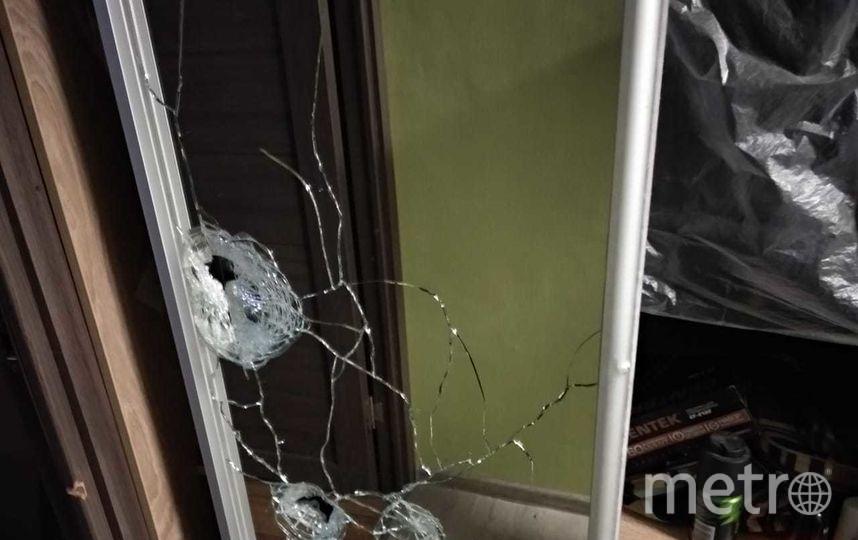 Пули после выстрелов пробили стекло в прихожей. Фото ГСУ СК РФ по Москве