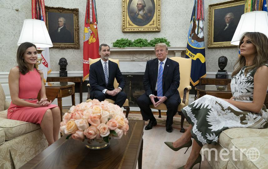 Королева Испании Летиция, король Испании Филипп, Дональд и Мелания Трамп. Фото Getty
