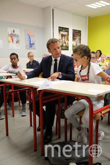 """Макрон посетил среднюю школу на французский """"день знаний"""". Фото AFP"""