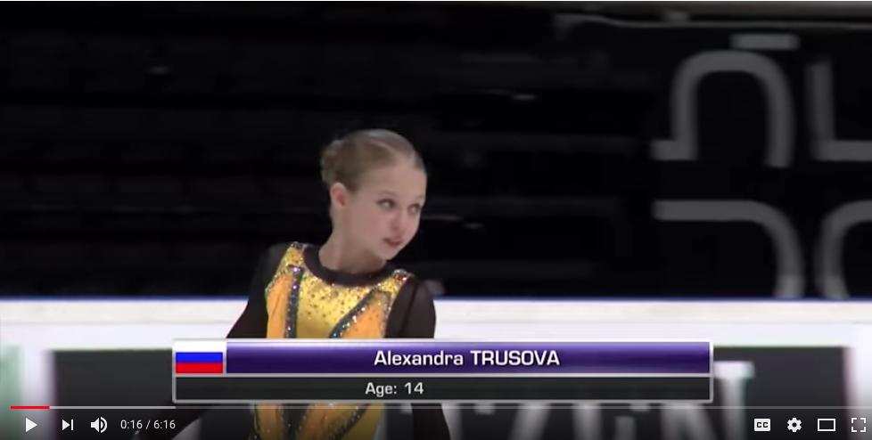 Александра Трусова. Фото скриншоты youtube, Скриншот Youtube