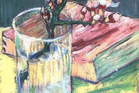 """""""Цветущая ветка миндаля в стакане и книга"""", Винсент Ван Гог, 1888."""
