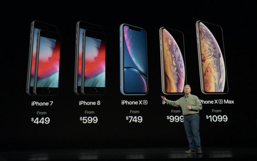 Apple представили новые модели смартфонов: iPhone Xs, iPhone Xs Max и iPhone XR. Фото Скриншот презентации Apple.