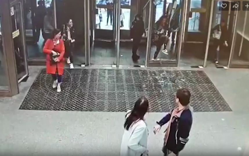 В Петербурге девушка пробила стеклянную дверь в метро. Фото Скриншот, vk.com