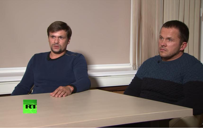 Подозреваемые в отравлении Скрипалей. Фото Канал RT на русском, Скриншот Youtube