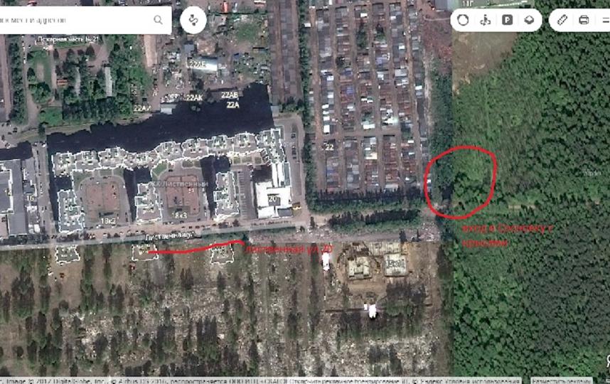 """Вход в парк Сосновка со стороны ЖК """"Лиственный"""". Фото Яндекс.Карты"""