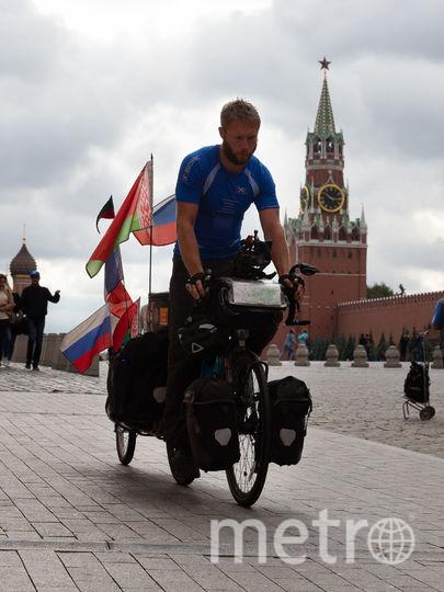 Француз пересёк Европу на велосипеде и закончил путешествие на Красной площади. Фото Василий Кузьмичёнок