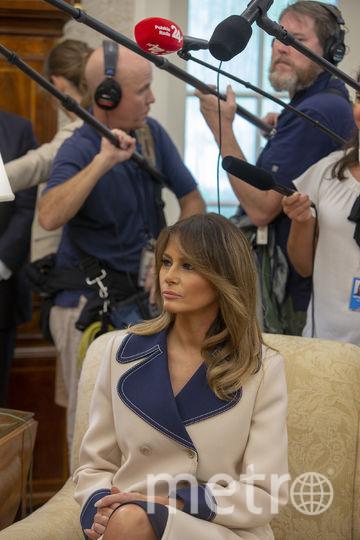 Мелания Трамп во время визита президента Польши. Фото Getty
