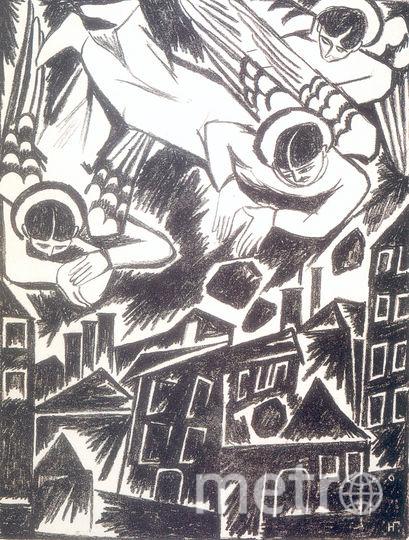 Н.С.Гончарова. Из альбома. Мистические образы войны.  Град обреченный. 1914. Литография. 30,3х23,1. Фото предоставлено банком ВТБ.