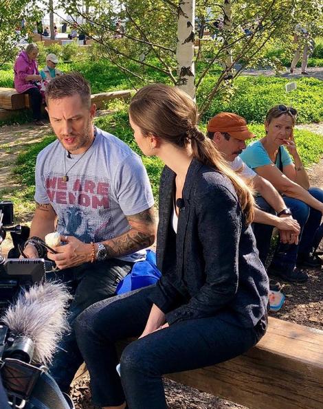 """Том Харди в парке """"Зарядье"""". Фото скриншот Instagram lyapinna"""