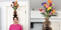 Ваза с цветами на голове – новый тренд