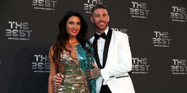 """Защитник """"Реала"""" Серхио Рамос вместе с женой Пилар Рубио."""