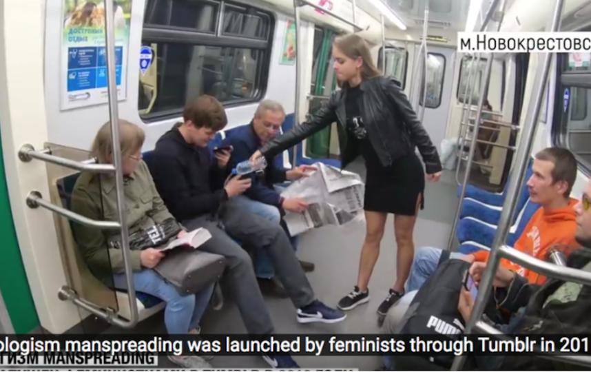 Манифест в петербургском метро против широко расставляющих ноги мужчин вызвал жаркие споры. Фото Скриншот Youtube