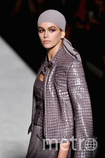 Кайя Гербер на Неделе моды в Нью-Йорке. Фото Getty