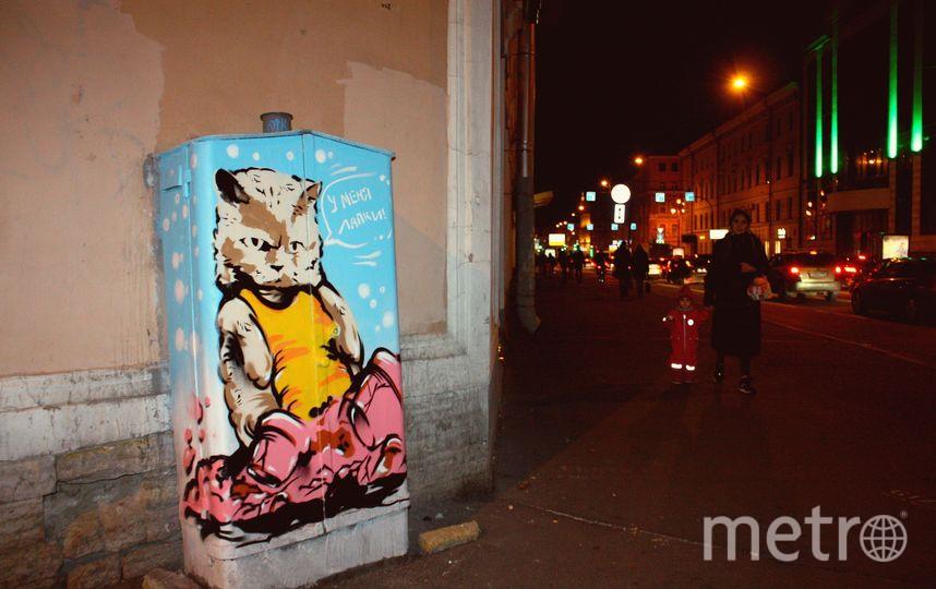 Для рисунка художники выбрали шкаф, расположенный на улице Гончарной. Фото mytndvor, vk.com