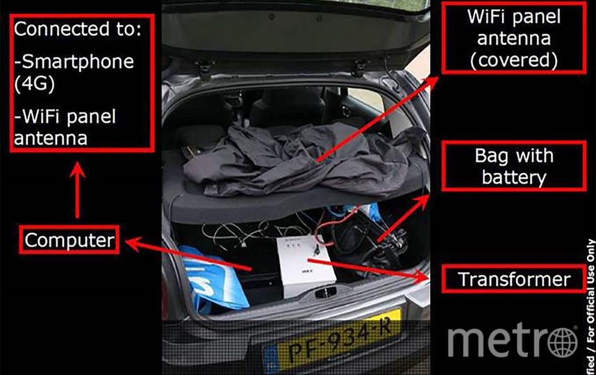 Фото с пресс-конференции: спец-оборудование в багажнике автомобиля. Фото AFP