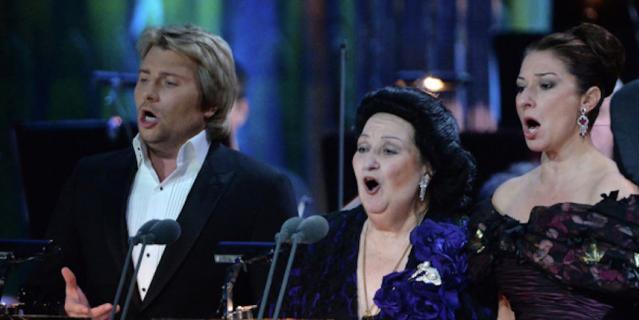 Монтсеррат Кабалье выступает вместе с Николаем Басковым в Москве.