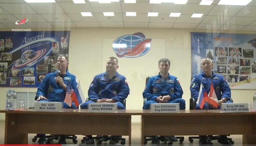 Предстартовая пресс-конференция. Фото Телестудия Роскосмоса, Скриншот Youtube