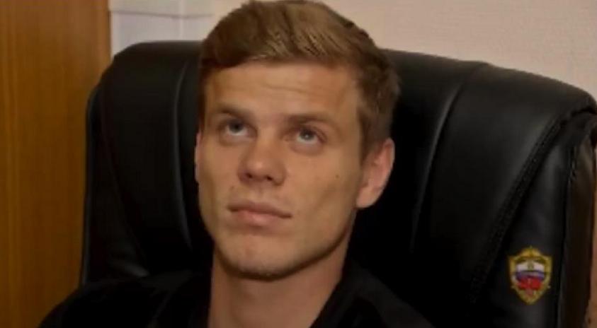 Александр Кокорин на допросе. Фото скриншот видео, опубликованное МВД Москвы.
