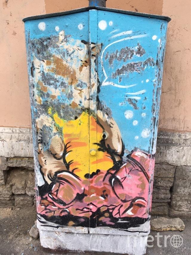 Граффити с котом подверглось нападению вандалов. Фото mytndvor, vk.com