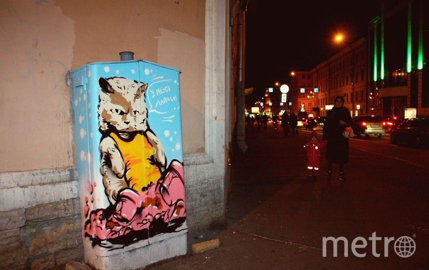 Стрит-арт с котом до нападения вандалов. Фото mytndvor, vk.com