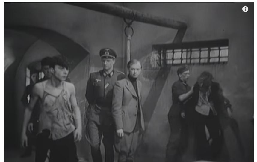 Сцена допроса молодогвардейцев. Никто товарищей не выдал. Фото Скриншот Youtube