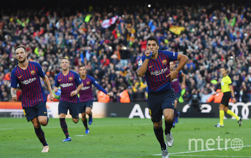 "Нападающий ""Барселоны"" Луис Суарес стал героем матча, оформив хет-трик. Фото Getty"