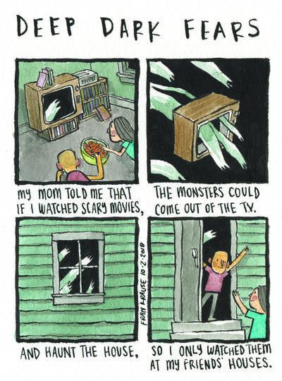 Работа Фрэнка Краузэ. Перевод: «Мама сказала мне, что, если я буду смотреть ужастики, монстры вылезут из телевизора и наполнят дом. Поэтому я их смотрю дома у моих друзей». Фото frankrause.tumblr.com