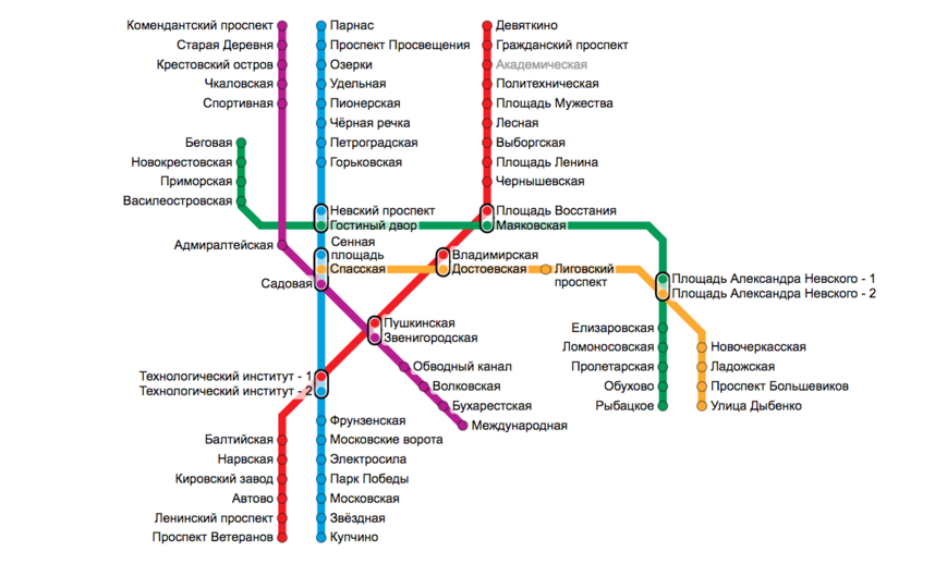 В Петербурге к 2043 году планируется построить десятки новых станций метро. Фото Скриншот Яндекс.Карты