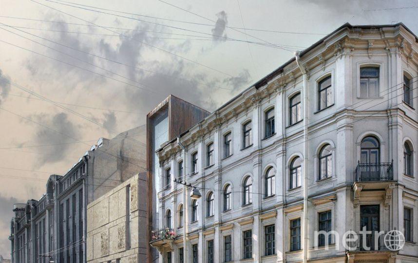 """Сквер в Кузнечном. Вместо сквера хотят построить это здание. Фото «Центральный район за комфортную среду обитания» vk.com, """"Metro"""""""
