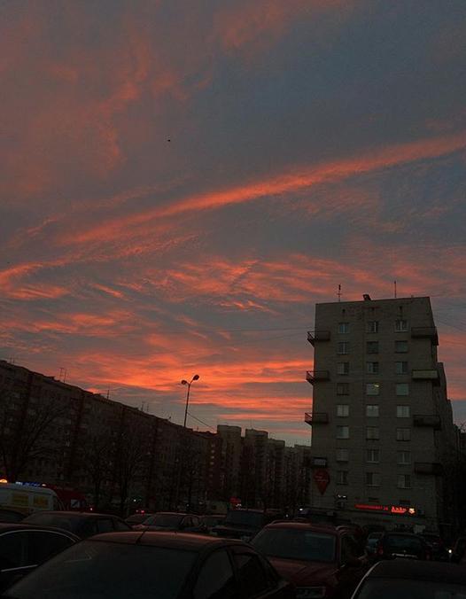 """Опять кроваво-красное небо: петербуржцы """"поймали"""" красивый закат. Фото скриншо www.instagram.com/_le6a_/"""