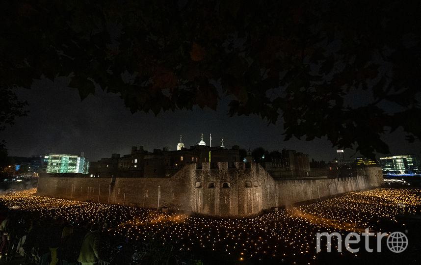 Ров перед Тауэром заполнили огоньками, чествущими жизни погибших в Первой мировой войне. Фото Getty