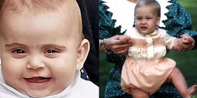 Сравните двух малышей - принца Уильяма (справа) и принца Луи.
