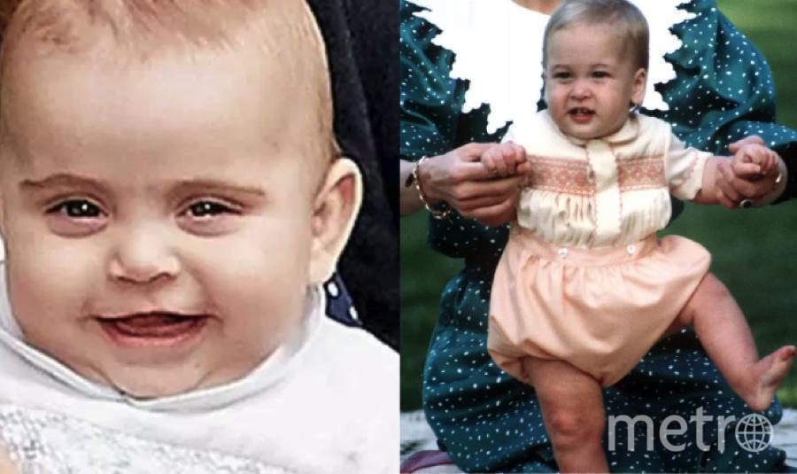 Сравните двух малышей - принца Уильяма (справа) и принца Луи. Фото Getty