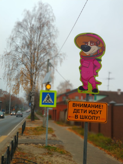 """Водителей в Орехово-Зуеве предупреждают Белка и Стрелка. Фото предоставлено проектом """"Территория безопасности"""""""