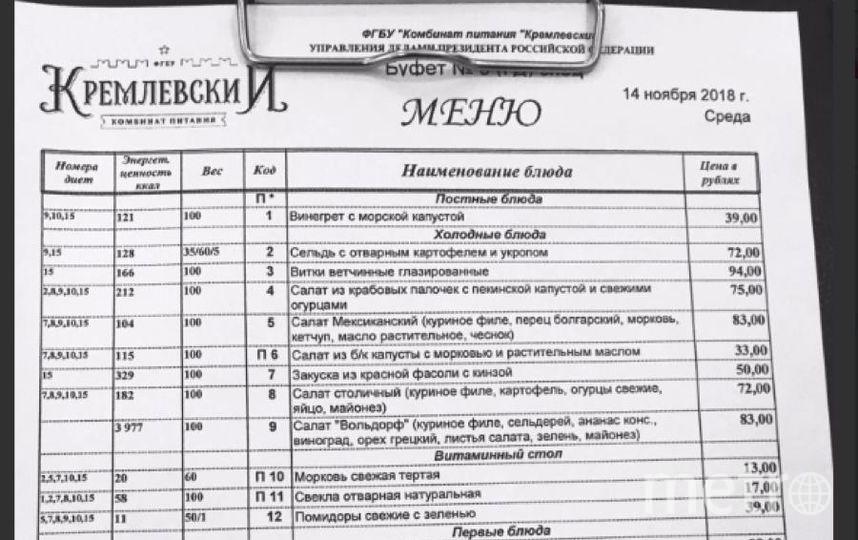 """Меню Госдумы. Фото https://twitter.com/Khinshtein, """"Metro"""""""