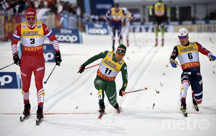 Александр Большунов, Йоханнес Клебо и Эйрик Брандсдал. Фото AFP