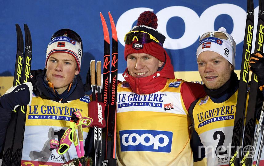 Йоханнес Клебо, Александр Большунов и Эйрик Брандсдал. Фото AFP