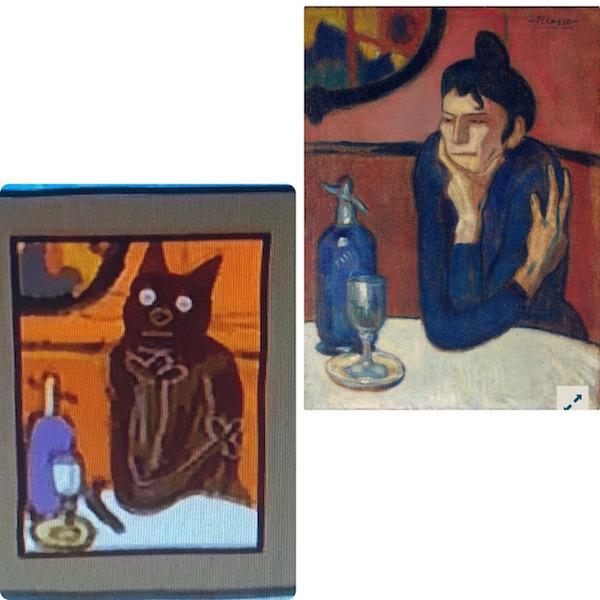 "Картина из мультфильма «Три кота», Пабло Пикассо «Любительница абсента». Фото ""Metro"""