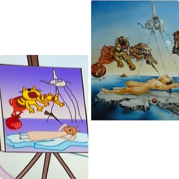 """Картина из мультфильма «Три кота», Сальвадор Дали «Сон, вызванный полётом пчелы вокруг граната, за секунду до пробуждения». Фото """"Metro"""""""