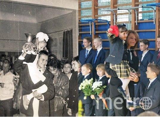 Никита и его сын Артемий Зорины верны традициям семьи, 1 сентября 1989 и 2017 годов. Фото Никита Зорин