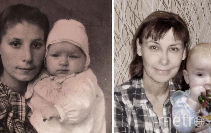 На фото моя бабушка Мария Васильевна со своей маленькой дочкой (моей будущей мамой) и я (ее внучка Вера) со своим маленьким сыном. Говорят, мы с бабушкой очень похожи. Фото Вера Афонина