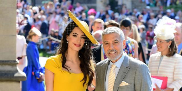 Джордж Клуни и его супруга Амаль на свадьбе принца Гарри и Меган Маркл.