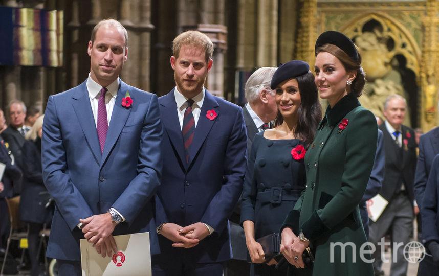 Меган Маркл и принц Гарри с принцем Уильямом и Кейт Миддлтон. Фото Getty