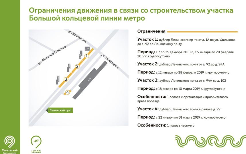 В Москве на Ленинском проспекте ограничат движение из-за строительства БКЛ. Фото mos.ru