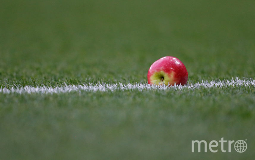 На поле бросили несколько предметов. Фото AFP