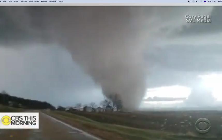 Фото Торнадо в Иллинойсе в начале декабря 2018 года. Фото Скриншот Youtube
