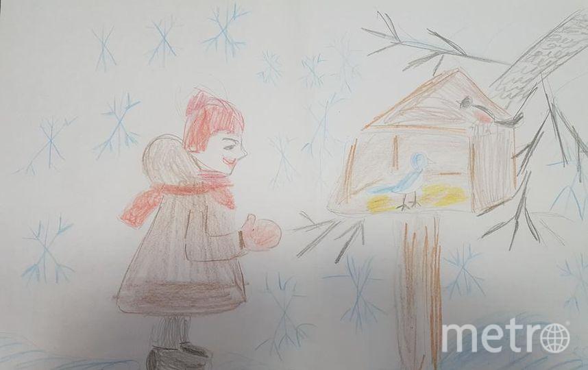 """""""Добрые дела: - покормите птиц зимой!"""". Гоша Оленев, 7 лет. Фото Виктория Оленева, """"Metro"""""""