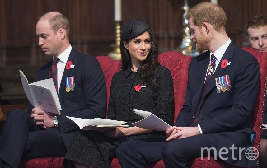 Меган Маркл, принцы Уильям и Гарри. Фото Getty
