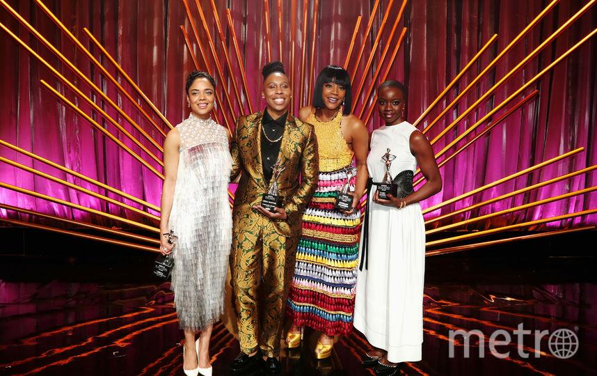 Тесса Томпсон, Лена Уайтх, Тиффани Хэддиш и Данаи Гурира на сцене во время вручения премии «Суть чернокожих женщин 2018 года» в Голливуде. Завтрак «Оскар» в отеле Regent Beverly Wilshire в Беверли-Хиллз.. Фото Getty